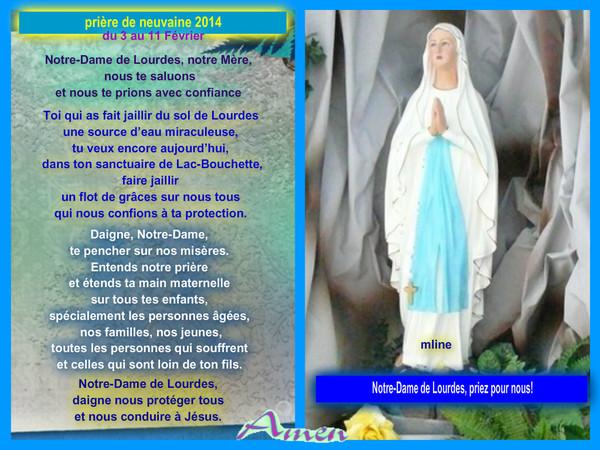 Prière par  Notre Dame de Lourdes 2014