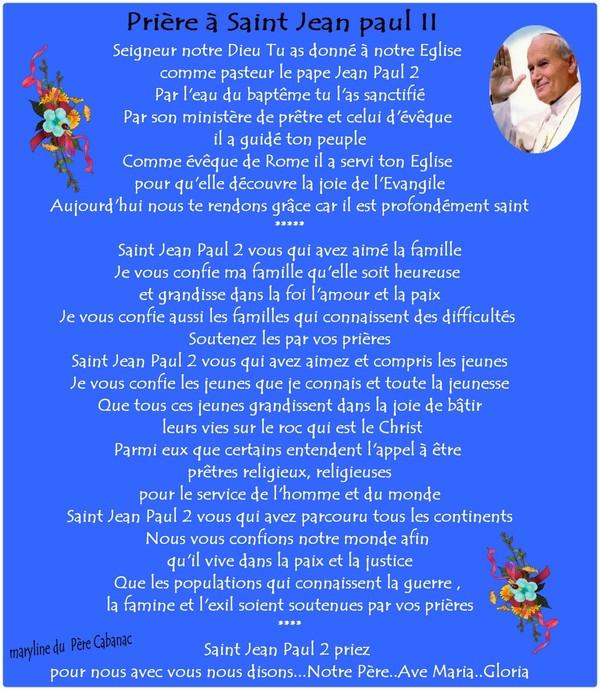 Nous fêtons Saint Jean paul II ..22 Octobre